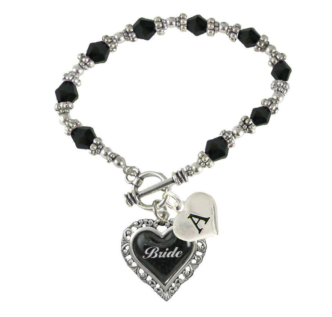 Custom Black Glass Bride Heart Stretch Bracelet Wedding Jewelry Choose Initial - $14.99