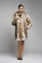 Women's  Hooded Bobcat  Lynx Fur Coat Emily - $2,871.00