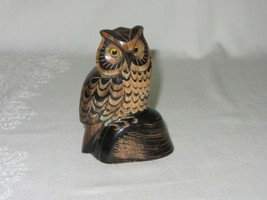 "Vintage Carved Buffalo Horn Owl Bird Figurine Art Sculpture 3 5/8"" H - $59.39"