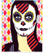 sugar skull girl original art print Day Of The Dead abstract art skeleto... - $8.99