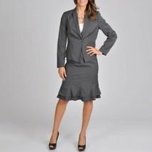 Larry Levine Size 12 Gray Blazer Career Jacket Grey Medium Large - $33.25