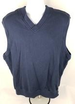 Nike Golf Mens Sweater Vest Sz XL Sleeveless V Neck Blue Cotton ** - $18.39