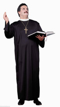 PRIEST FATHER PADRE HALLOWEEN COSTUME ADULT PLUS SIZE-ROBE & COLLAR - £14.35 GBP