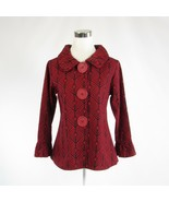 Red black diamond cotton blend ERMA'S CLOSET bell sleeve jacket S - $54.99