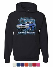 1971 Blue Dodge Charger Hoodie Classic Muscle Car Lightning Sweatshirt - $23.31+