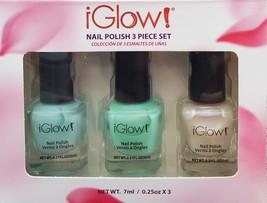 iGlow Nail Polish 3 piece set, Glass Green / Seafoam / Vanilla Sparkle, gift box