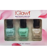 iGlow Nail Polish 3 piece set, Glass Green / Seafoam / Vanilla Sparkle, ... - $8.99