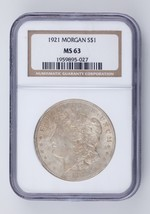 1921 $1 Silver Morgan Dollar Graded by NGC as MS-63! Nice Color! - $59.39