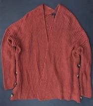 Talbots Chunky Burnt Orange Open Cardigan Sweater M Button Embellishments  - $29.69