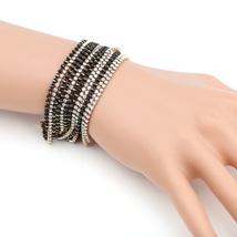 UE- Gold Tone Designer Bracelet With Black Overlay & Swarovski Style Crystals  - $19.99