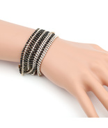 UE- Gold Tone Designer Bracelet With Black Overlay & Swarovski Style Cry... - $17.99