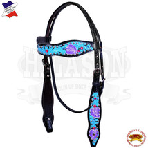 Western Horse Headstall Tack Bridle American Leather Turquoise Hilason U-8-HS - $62.55