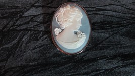 Vintage Blue Cameo Brooch by Trifari - $15.88