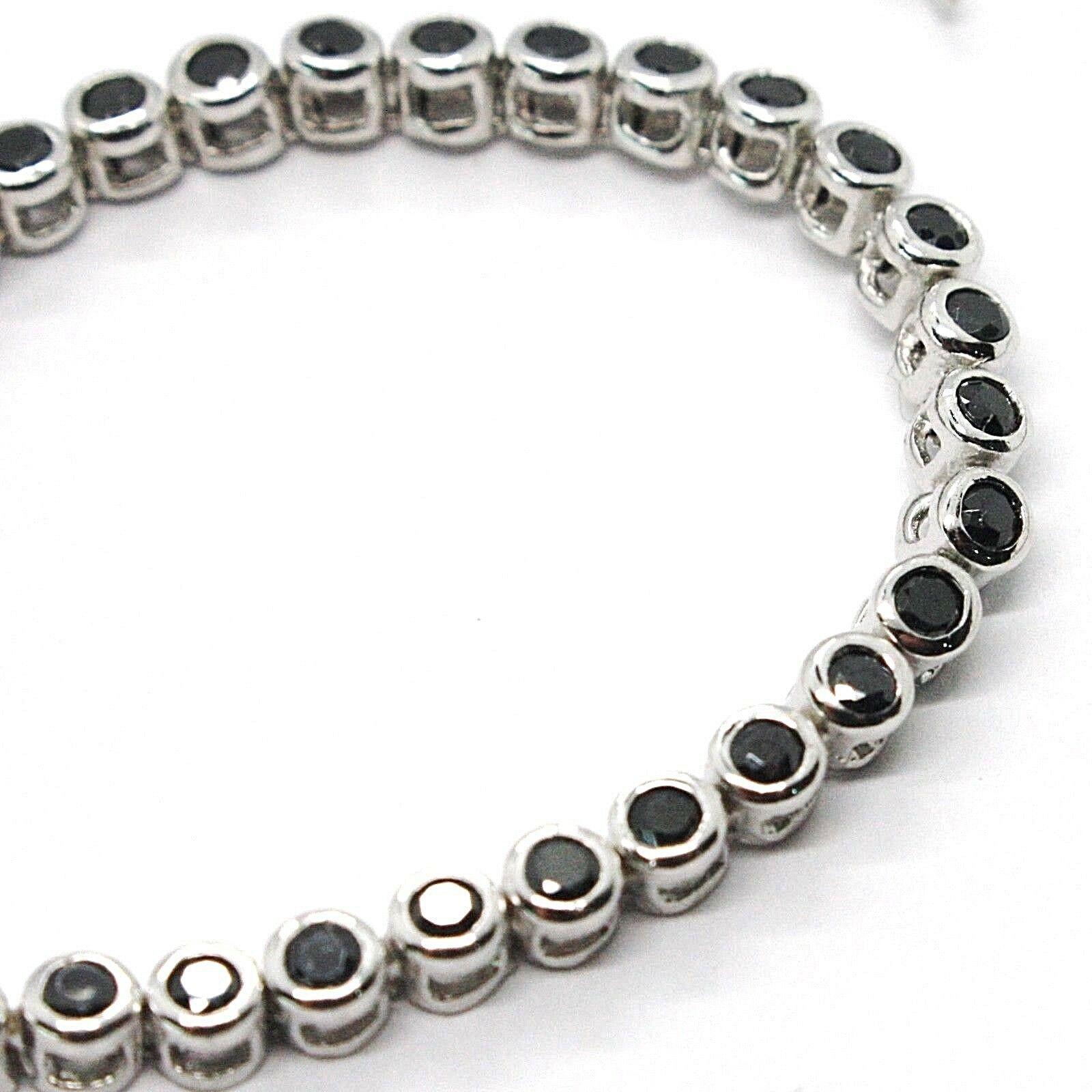 Tennis Bracelet, Silver 925, Zircon Cubic Black, Brilliant Cut, 3 MM image 3