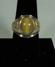 Gold over Sterling Tiger's Eye Ring Marked CMM Size 8 - $22.76