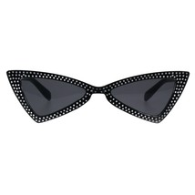 Womens Skinny Sunglasses Triangle Cateye Silver Dotted Bling Fashion UV400 - $9.95