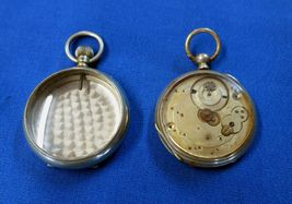 2 Swiss Pocket Watch Cases one with Key Wind Bar Movement - $19.99