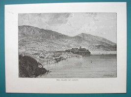 ITALY Lapari Islands Archipelago - 1877 Wood Engraving Illustration - $7.19