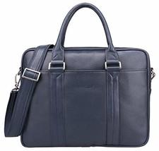 Banuce Blue Leather Briefcase for Men Women Shoulder Handbags Business Work Tote - $222.01