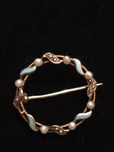 Lovely Antique Solid 10k Gold Seed Pearl And Turquoise Brooch / pin - $89.10