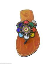 Women Slippers Indian Handmade Designer Leather Flip-Flops Camel US 8 - $29.99