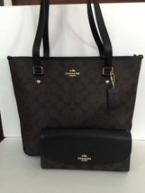 NWT Coach Zip Top Tote in Signature Brown / Black F58294 & Wallet Set - $239.95