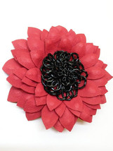 Red  Leather brooch Red flower Large flower Black beads Wedding brooch  - $49.00