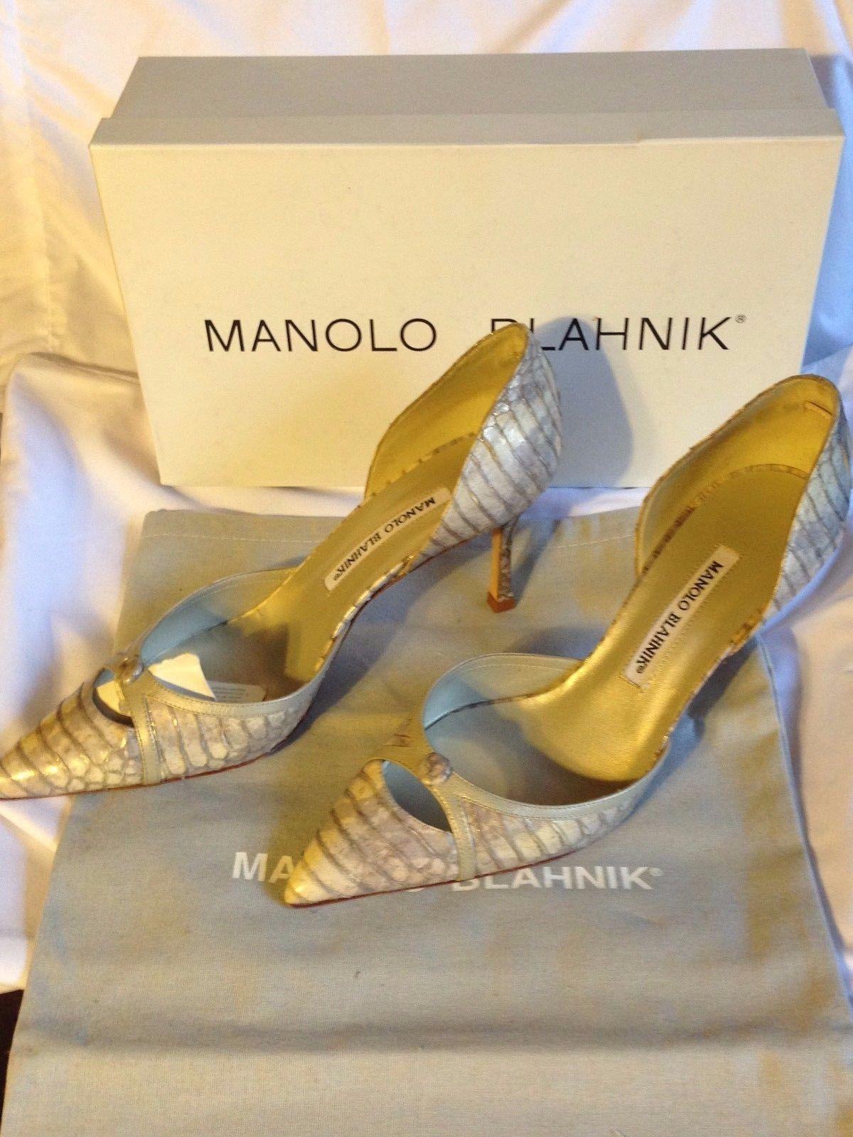 f7e19756f1424 S l1600. S l1600. Previous. Manolo Blahnik Nappa Bronze ans Golden Snake  Skin Python Pumps Size 37.5