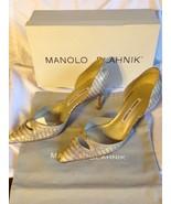 Manolo Blahnik Nappa Bronze ans Golden Snake Skin Python Pumps Size 37.5 - $495.00