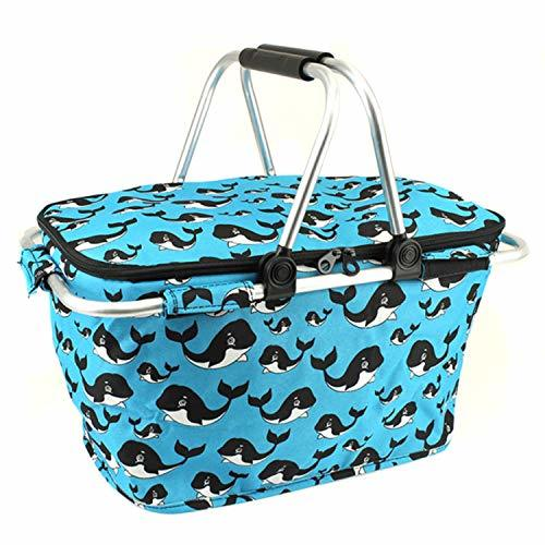 Whale Print Metal Frame Insulated Market Tote