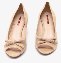 PRADA SPORT Patent Leather Nude Bow Peep Toe Pump Silver Kitten Heel Sz 37 image 6