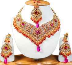 Zicsy Exclusive Jewellery CZ Gold Plated Necklace Set with Maangtikka BO... - $42.99