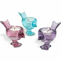 New in Box Lenox 3 Bird Set Art Glass Votive Candle - $34.53