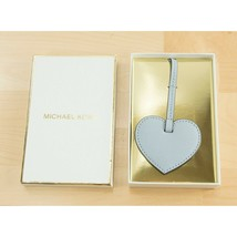 Michael Kors Pale Blue Leather Heart Large Bag Charm Key Chain Boxed NWT