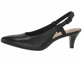 Clarks Linvale Loop Black Leather Women's Slingback Pointy Pumps 40023 - $49.00
