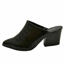 Qupid NAVA-12 Black Crocodile Women's Slip On Pointy Toe Mule Heels - $30.95
