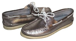 SPERRY Top-Sider Authentic Original Silver Leather Snake Boat Shoe 9.5 M... - $37.04