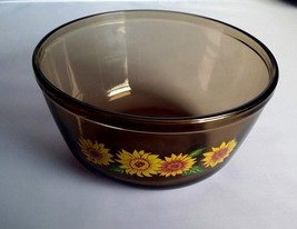 Anchor Hocking Sunflowers Amber Glass Mixing Bowl 2.5 Quart Ovenware Mic... - $24.30