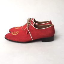 Handmade Red Suede Embroidered Dress/Formal Oxford Shoes image 4
