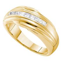 14k Yellow Gold Mens Princess Channel-set Diamond Single Row Wedding Band Ring - $1,399.00