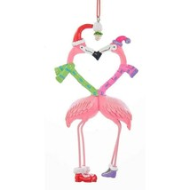 KURT ADLER RESIN KISSING FLAMINGOS w/SCARVES & MISTLETOE COASTAL XMAS OR... - $10.88