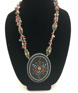 """Vintage Micro Mosaic Beaded Necklace Colorful Handmade 24"""" - $49.95"""