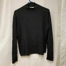 Talbots Womens Pullover Sweater Black 100% Cotton Long Sleeve High Neck L - $15.44