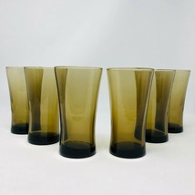 6- Vintage Anchor Hocking Linden Mocha Flared Glasses Brown Tumblers Bar... - $62.36
