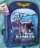 BATMAN Full Size Blue Canvas Backpack Book Bag NEW with Tags - $15.99
