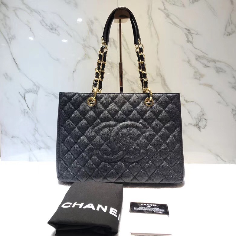BRAND NEW AUTH CHANEL QUILTED CAVIAR GST GRAND SHOPPING TOTE BAG GHW RECEIPT