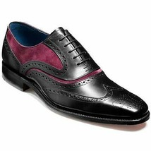 Handmade Men's Black Maroon Wing Tip Brogues Dress/Formal Oxford Leather Shoes image 4