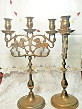 """PAIR OF ANTIQUE BRASS 3 Light Sabbath Shabbos Candelabrum 14 1/4"""" T X 9"""" W"""
