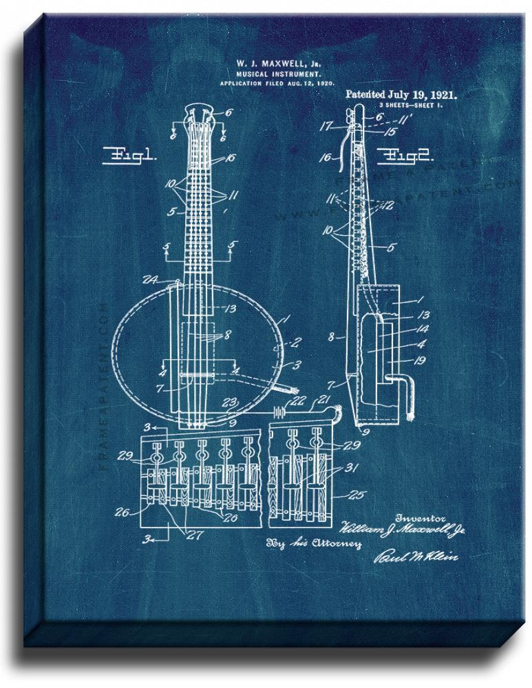 Primary image for Banjo Patent Print Midnight Blue on Canvas