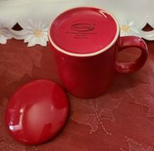 Ceramic Tea or Coffee Mug with Lid - 11oz - Red Omniware image 2